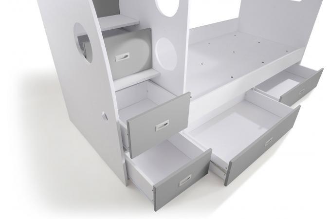 lit combin 2 couchages blanc gris laila design sur sofactory. Black Bedroom Furniture Sets. Home Design Ideas