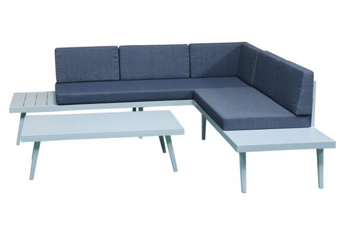 Salon de Jardin En Aluminium Blanc et Bleu CLAUDIA design sur SoFactory