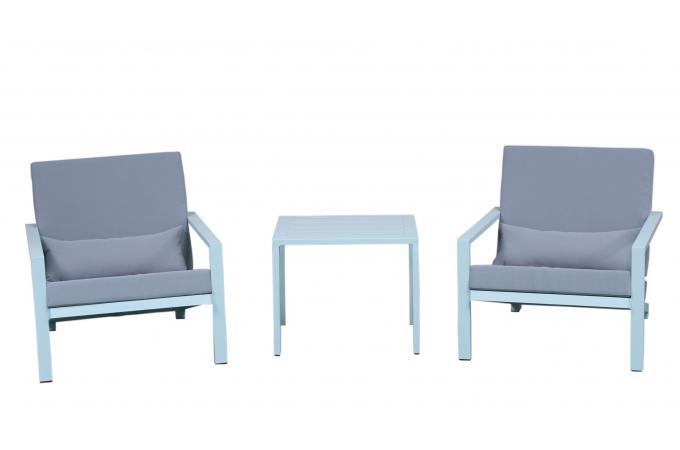 Salon de Jardin En Aluminium Blanc et Gris SOFTY design sur SoFactory