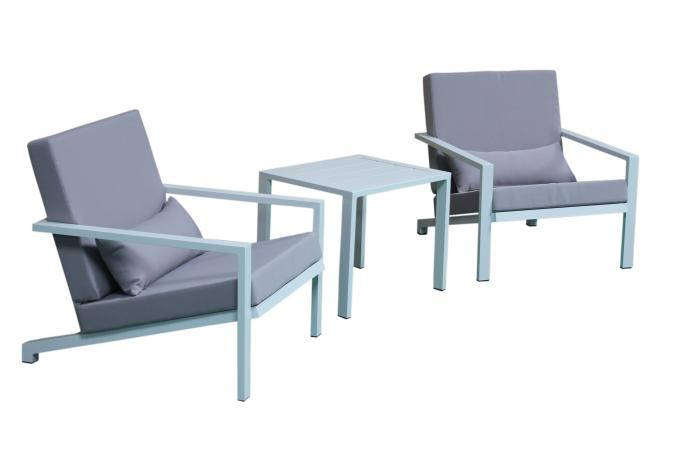 Salon de jardin en aluminium blanc et gris softy design - Salon de jardin aluminium direct usine ...
