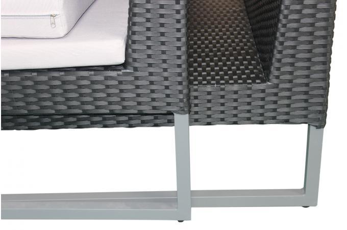 Salon de Jardin En Aluminium Et Résine Tressée Noir BEQUEM design ...