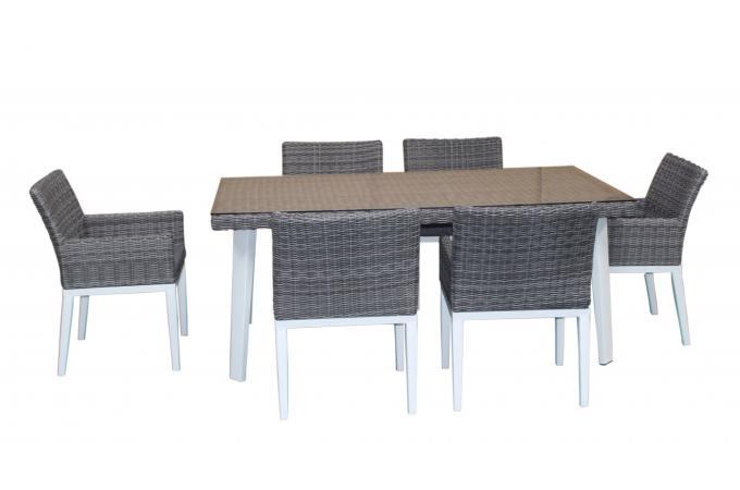 Table Repas et 6 Fauteuils en Résine et Aluminium gris PUR design ...