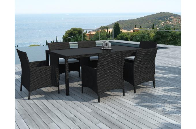 Table et 6 Fauteuils en Résine Tressée Noir MILANO
