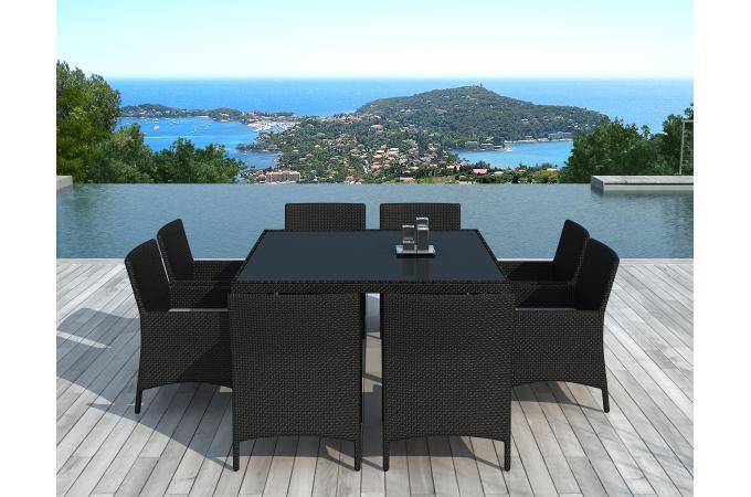 Ensemble de Table et 8 fauteuils d\'extérieur en résine tressée Noir COFFEE