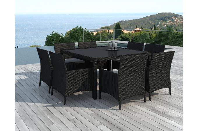 Ensemble de Table et 8 fauteuils d\'extérieur en résine tressée Noir ...