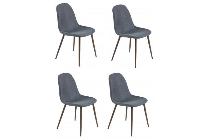 Lot De 4 Chaises Scandinaves Tissu Anthracite Brillance Design Sur