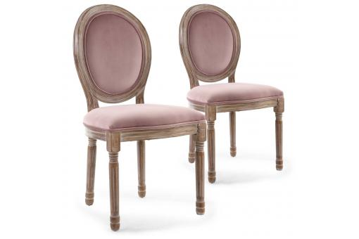 Lot De 2 Chaises Médaillon Bois Patiné & Velours Rose ANGY SoFactory