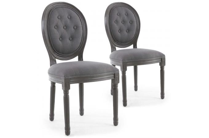 lot de 2 chaises mdaillon bois gris et tissu capitonn gris angy - Chaise Baroque