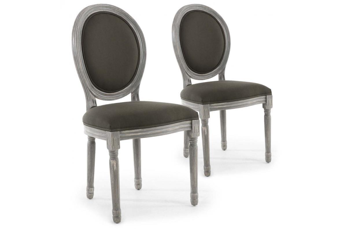 Renover Une Chaise Medaillon lot chaises bois angy patinétissu gris gris de 2 médaillon