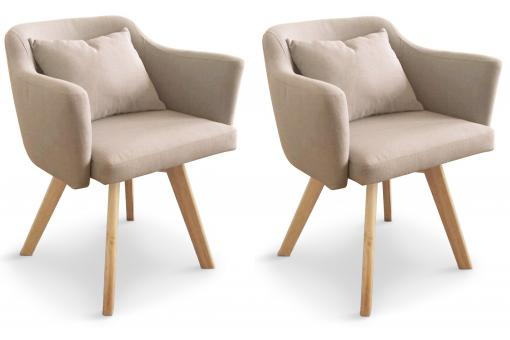 Lot de 2 Fauteuils Scandinaves Beiges TEIKI SoFactory