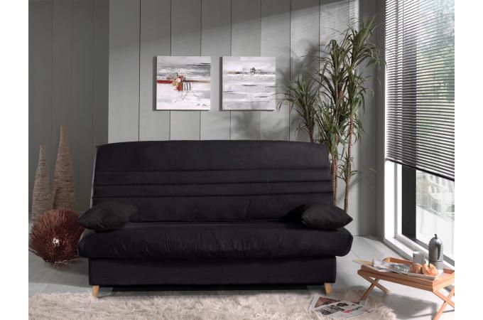 banquette convertible 2 places tissu noir lou design sur. Black Bedroom Furniture Sets. Home Design Ideas
