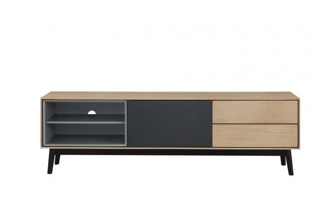 meuble tv bois noir 2 niches 1 porte 2 tiroirs popsy