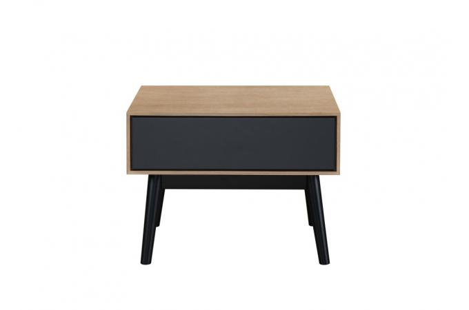table d 39 appoint bois noir 1 tiroir popsy design sur sofactory. Black Bedroom Furniture Sets. Home Design Ideas