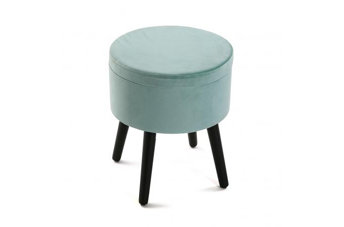 Coffre Pouf Rond Velours Turquoise REYES SoFactory