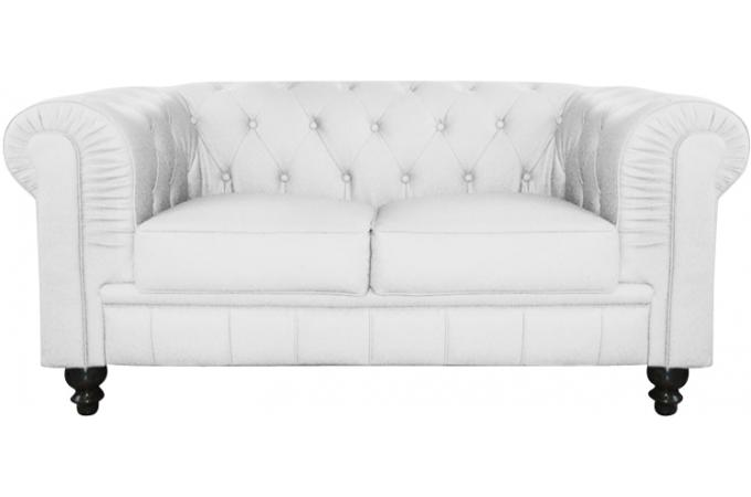 Canapé Chesterfield Simili Blanc Capitonné Places PLAYA Design Sur - Canapé chesterfield simili cuir