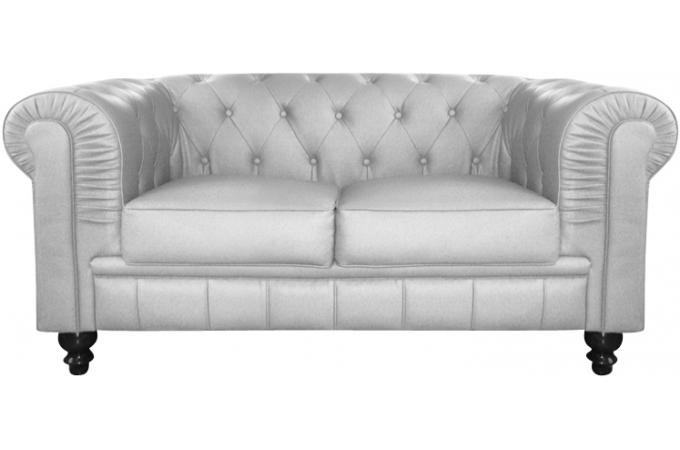 Canapé Chesterfield Simili Argent Capitonné Places PLAYA Design - Canapé chesterfield simili cuir
