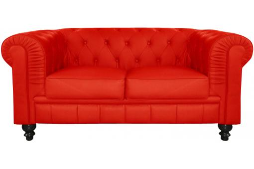Canapé chesterfield imitation cuir rouge capitonné 2 places PLAYA