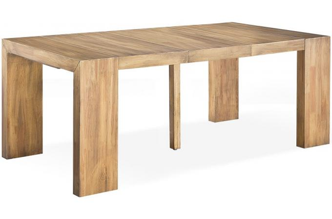Table console extensible en bois massif cappucino - Table a rallonge console ...