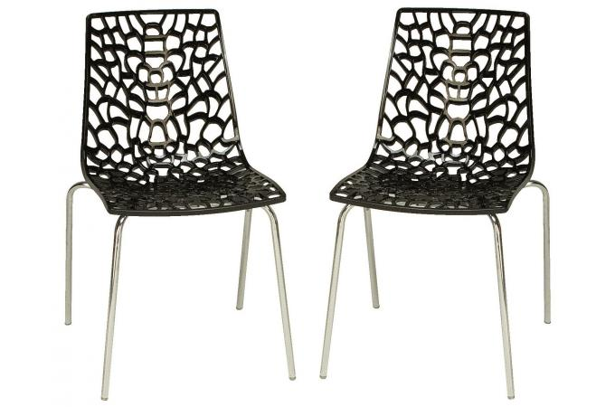 Lot de 2 chaises anthracites traviola design pas cher sur - Chaise moderne pas chere ...