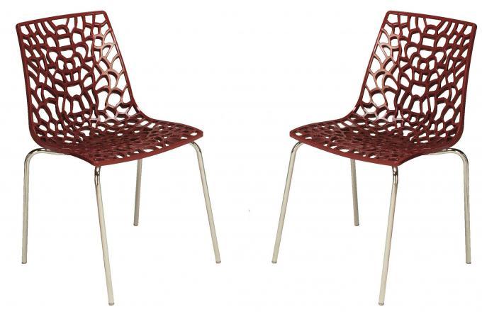 lot de 2 chaises rouges traviola design sur sofactory. Black Bedroom Furniture Sets. Home Design Ideas