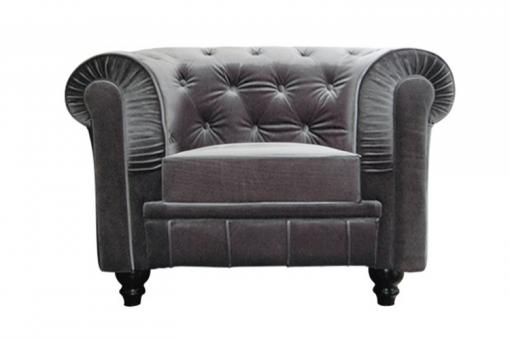 Fauteuil chesterfield en velours gris COLOR