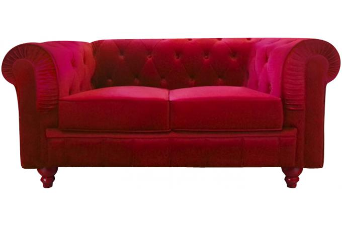 Canap chesterfield velours capitonn rouge 2 places city for Canape 2 places rouge