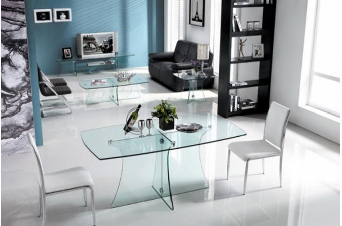 Table manger en verre kyosuke design pas cher sur sofactory - Table a manger en verre design pas cher ...