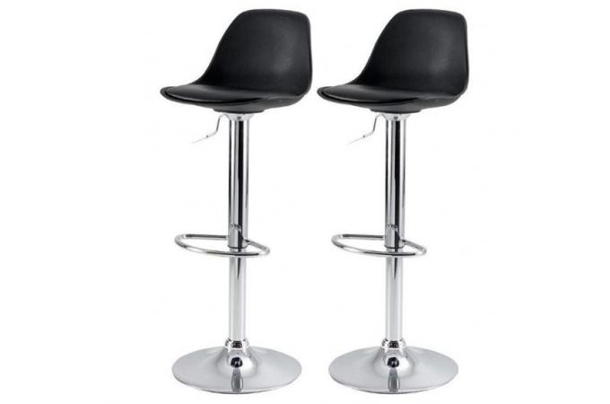 lot de 2 tabourets de bar noir en simili rosie - Lot De 2 Tabouret De Bar
