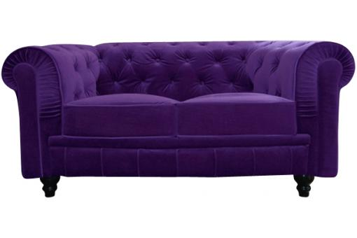 Canap chesterfield velours capitonn violet 2 places city design pas cher su - Canape chesterfield violet ...