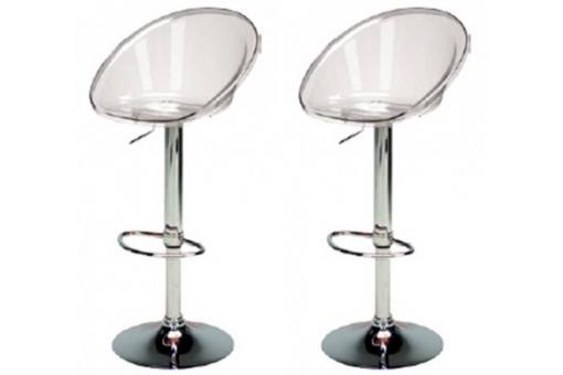 Lot de 2 Tabourets de Bar Transparents ROME