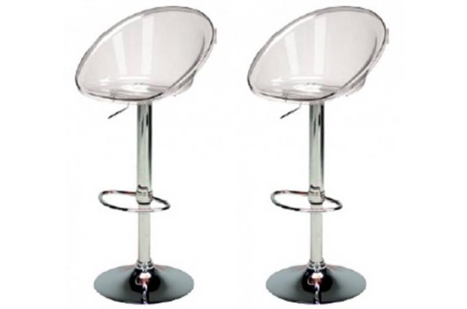 Lot de 2 tabourets de bar transparents rome design pas cher sur sofactory - Tabouret de bar transparent pas cher ...
