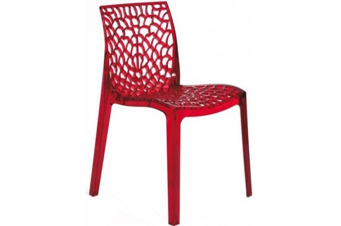 chaise fum e rouge transparente filet design sur sofactory. Black Bedroom Furniture Sets. Home Design Ideas