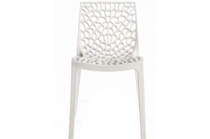 Chaise design blanche opaque filet design sur sofactory for Chaise blanche