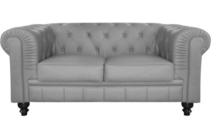 canap 2 places chesterfield gris berenice design sur sofactory. Black Bedroom Furniture Sets. Home Design Ideas