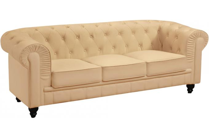 Canapé 3 places Chesterfield Beige WILLIAM
