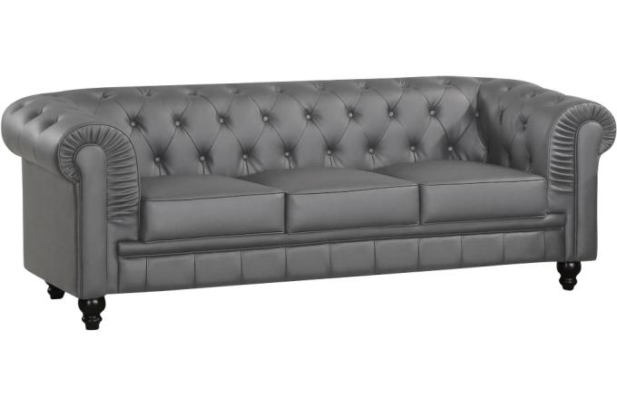 Canapé Places Chesterfield Gris WILLIAM Design Sur SoFactory - Canapé gris 3 places