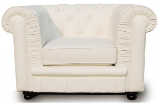 Fauteuil Chesterfield 1 place blanc LILY