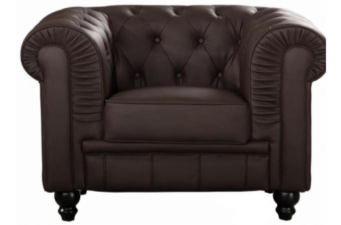 Fauteuil Chesterfield 1 place marron LILY
