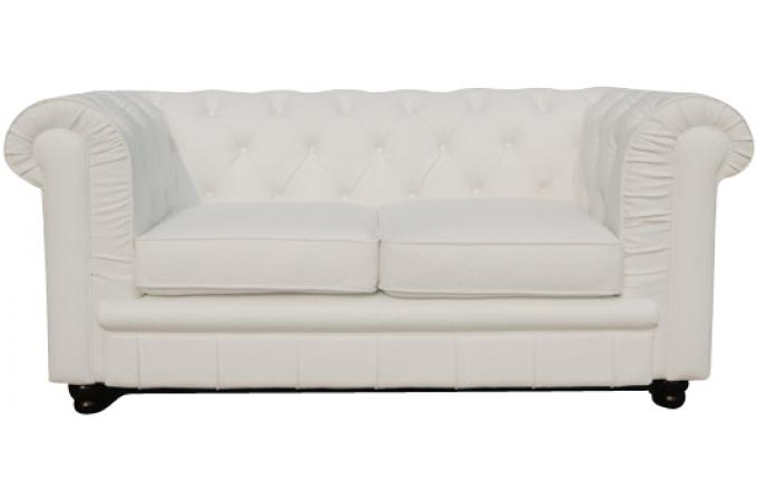 Canapé Chesterfield 2 places blanc LILY