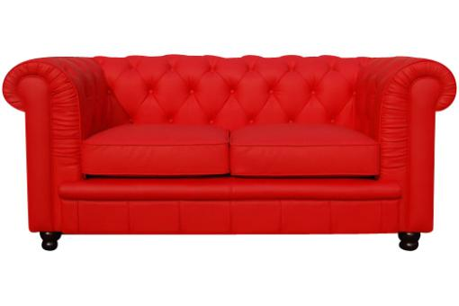 Canapé Chesterfield 2 places rouge LILY