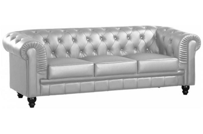 Canapé Chesterfield 3 places argent LILY
