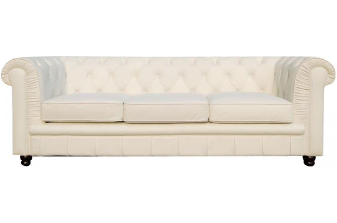 Canapé Chesterfield 3 places blanc LILY