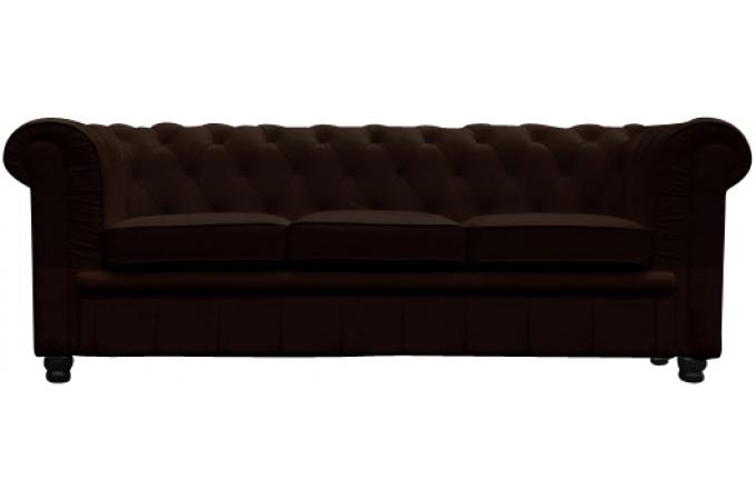 Canapé Chesterfield 3 places marron LILY