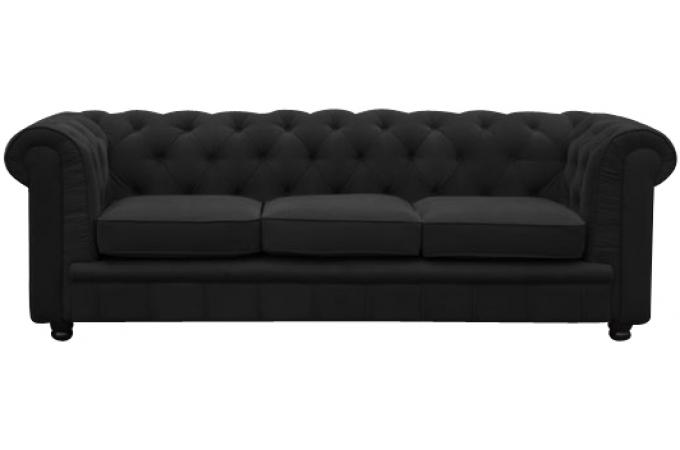 Canapé Chesterfield 3 places noir LILY