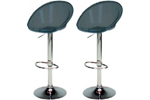 Lot de 2 Tabourets de Bar Transparents Gris Anthracite ROME