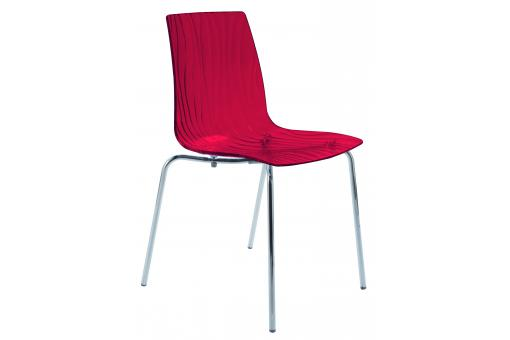 Chaise Design Transparente Rouge ARC