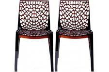 Lot de 2 Chaises Design Transparentes Marrons FILET