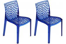 Lot de 2 Chaises Design Transparentes Bleues FILET