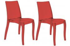 Lot de 2 Chaises Design Transparentes Rouges GREECE SoFactory