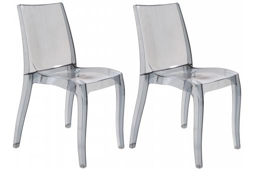 Lot de 2 Chaises Design Transparentes Grises GREECE